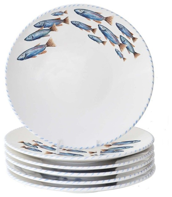 Fresh Dinner Plates With Fish Design