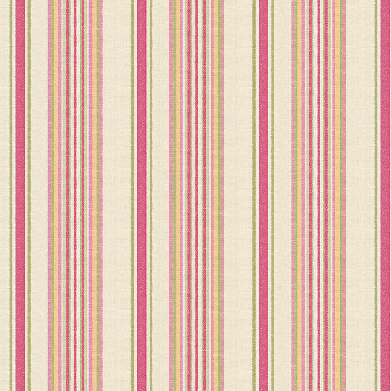 Pink and Green Stripe Linen Fabric