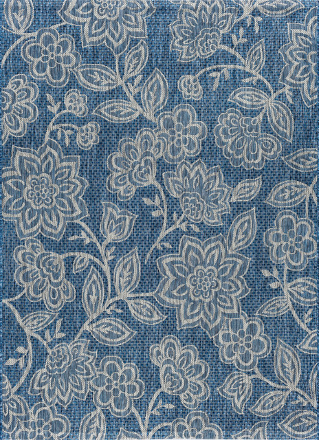 Venice Floral Indigo Rectangle Easy-Care Indoor/outdoor Area Rug, 8&x27; X 10&x27;.