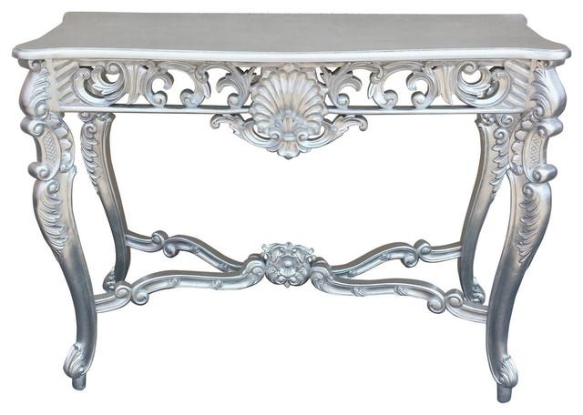console hallway table silver leaf louis xvbaroque rococo farmhouse style