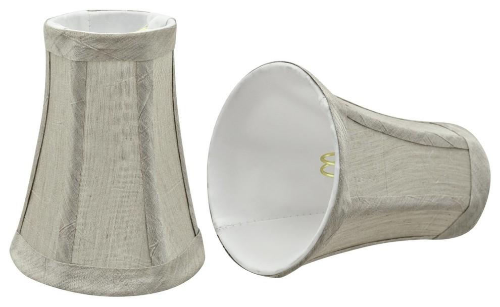 Transitional Design 4 Bottom Width Light Brown Aspen Creative 30247-6 Small Bell Shape Chandelier Clip-on Lamp Shade Set 2 x 2 1//2 x 4 x 5 6 Pack