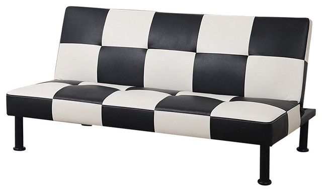 Checkered Pattern Futon Sofa Bed, Black - Contemporary - Futons - by ...