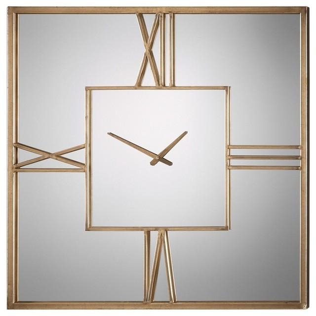 Mirrored Wall Clock sebastiano square mirrored wall clock - contemporary - wall clocks