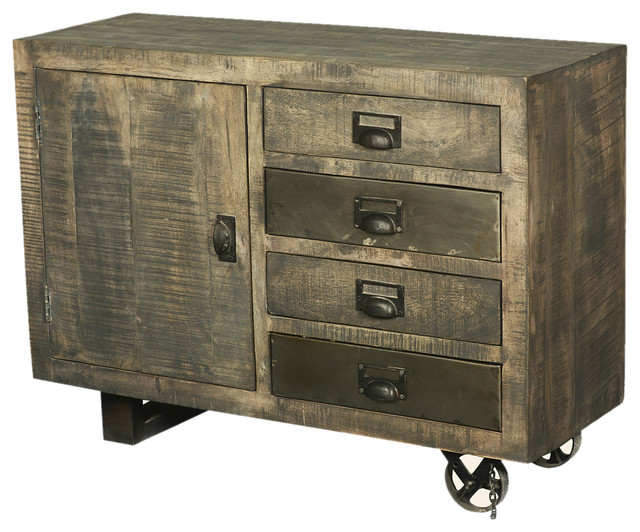 Modern Rustic Rolling Solid Wood Storage Cabinet W Drawers