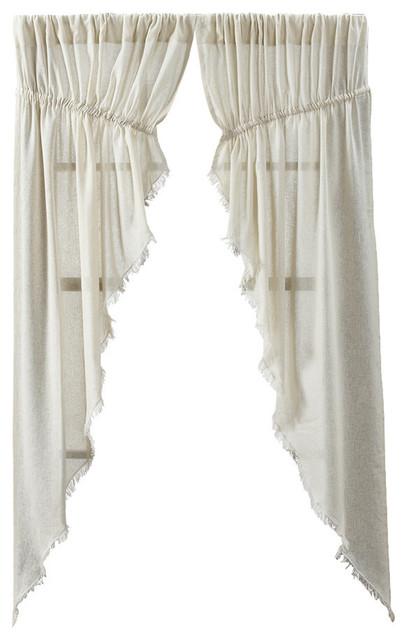 Tobacco Cloth Natural Fringed Prairie Curtain Set Of 2