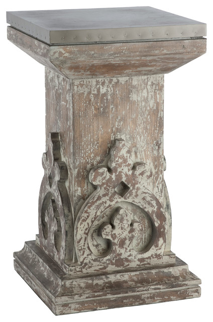 Fabulous Aged European Country Hand Carved Column Side Table Interior Design Ideas Gentotryabchikinfo