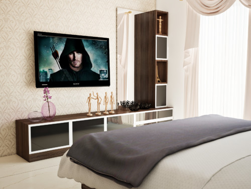Modern and modular tv unit design for Bedroom designs with tv unit