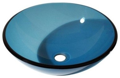 "16.5"" Diameter Round Vessel Bathroom Sink, Blue."