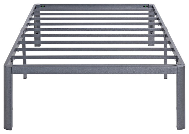"Ash 14"" Gray Steel Slat Bed Frame With Round Corners, Queen."