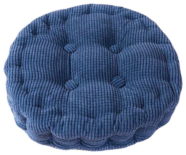 Circle Thicken Cushion Tatami Floor Cushion, Car Pillow, Deep Blue.