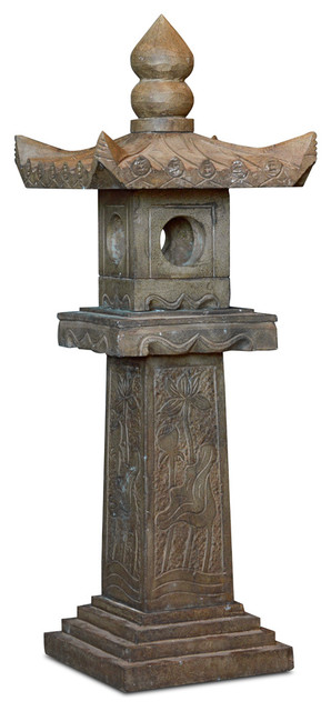 Hand Carved Stone Pagoda Chinese Lantern Asian Garden Statues