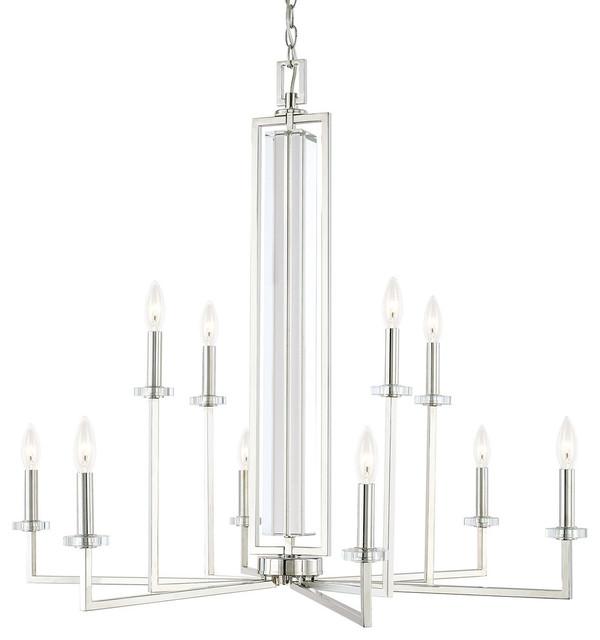 capital lighting hudson collection 10 light chandelier polished nickel - Capital Lighting