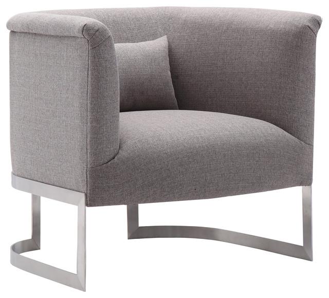 Elite Accent Chair, Brushed Steel Finish With Gray Fabric by Armen Living