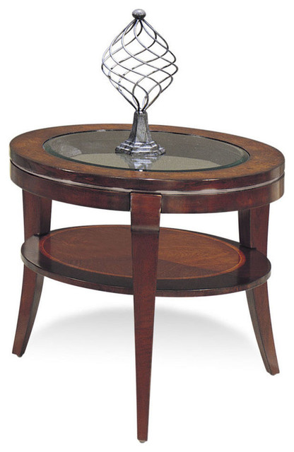 Bassett Mirror 8436 220 Ashland Heights Round End Table W Glass