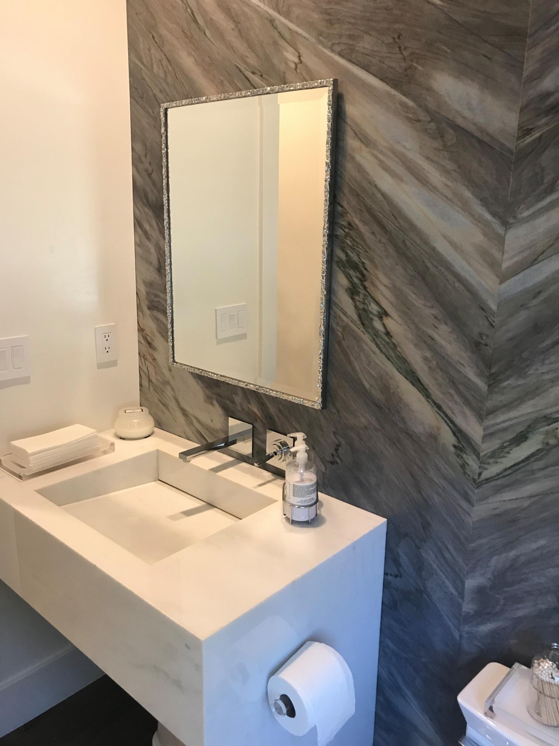 Ladera Ranch Custom Vanity & Quartzite Wall