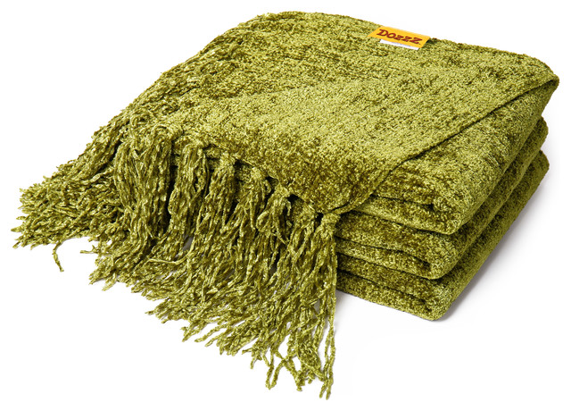 Chenille Throw Blanket Olive Green Contemporary