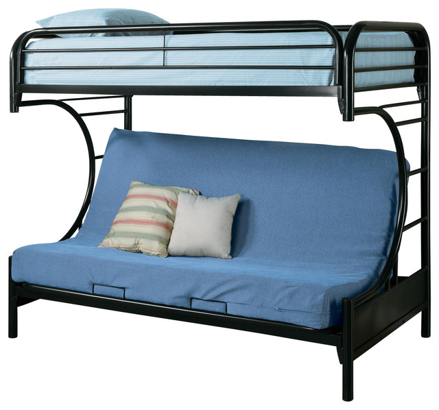 Fordham Metal Twin Over Full Futon Bunk Bed With Rounded Edges Black Contemporary Futons
