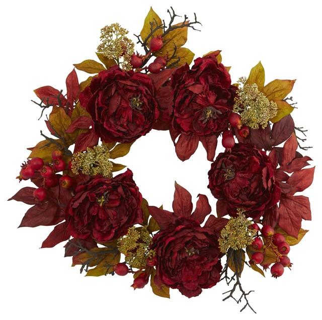 Silk Flowers -24 Inch Peony Sedum Wreath Artificial Plant.