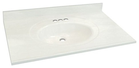 "31""x22"" Cultured Marble Bathroom Vanity Top, White on White"