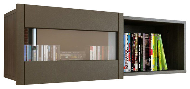 nexera nuance wall shelf with sliding door in espresso - Nexera