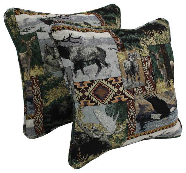 """18"""" Double Corded Square Throw Pillows Inserts, Set of 2, Wild North"""