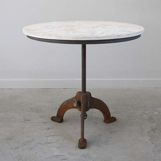 Marble Bistro Accent Table: Marble Topped Antique Bistro Table With Cast Iron Base
