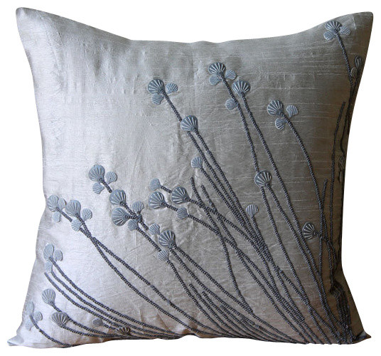 "Gray 3d Sea Sheel Sequins 16""x16"" Silk Throw Pillows Cover, Soft Gray Shells."
