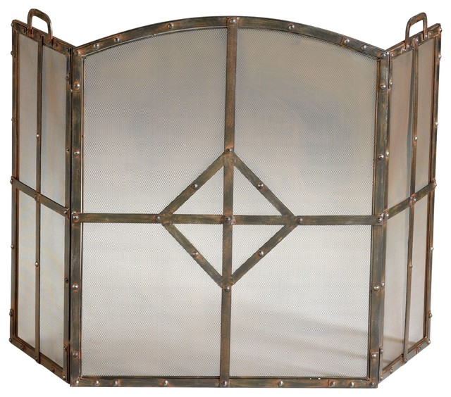 Lincoln Transitional Raw Steel Iron Fireplace Screen.