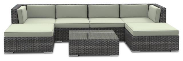 Maui Outdoor Patio Furniture Sofa Sectional 7 Piece Set Beige