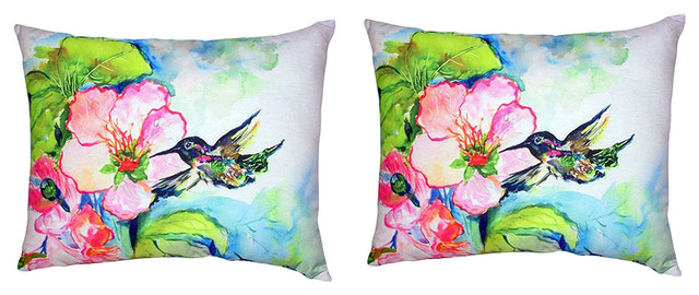 Pair of Betsy Drake Hummingbird & Hibiscus No Cord Pillows 16 Inch X 20 Inch