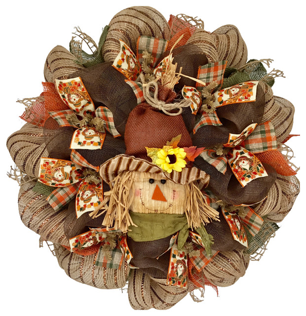 Adorable Straw Scarecrow With Corduroy Face Harvest Or Halloween Deco Mesh.