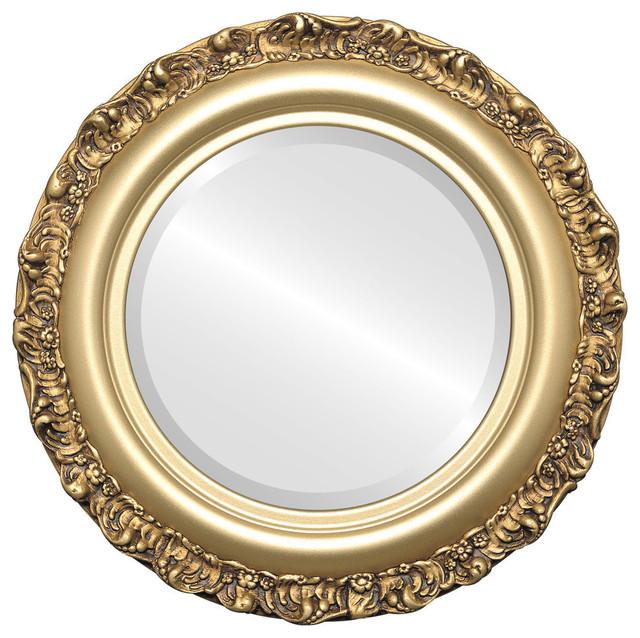 """Venice Framed Round Mirror In Gold Spray, 23""""x23""""."""