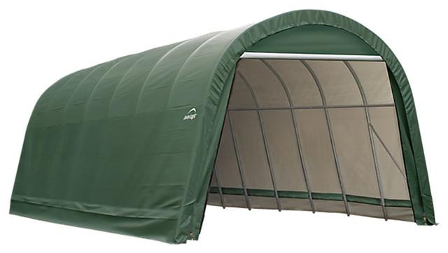Shelter Logic Outdoor Sheltercoat Garage 12&x27;x24&x27;x10&x27;, Round Standard, Green.