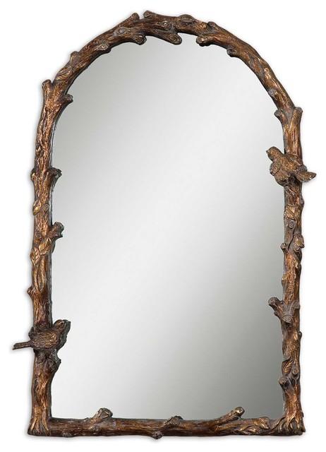 Paza Arched Antiqued Gold Leaf W Gray Glazy Mirror.