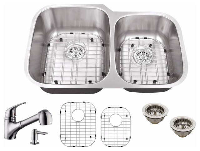 32 60 40 Stainless Steel Kitchen Sink And Low Profile Faucet Contemporary Sinks By The Distribution Point
