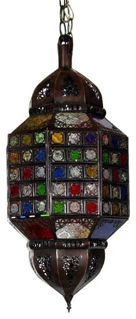 Moroccan Multi-color Hanging Glass Lantern, Multi-Color