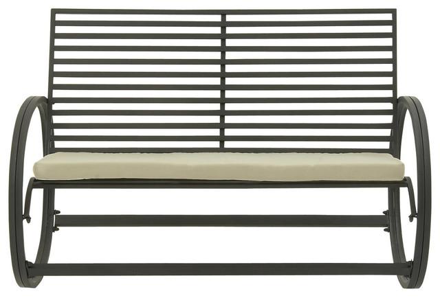 Pleasant Great Outdoors Metal Fabric Rocking Bench Tin Black Tan Inzonedesignstudio Interior Chair Design Inzonedesignstudiocom