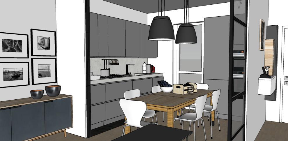 Render_Vista verso la cucina e l'ingresso (serramento interno aperto).