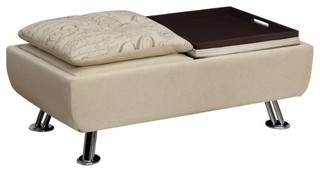 Furniture of America Hauser II Tufted Ottoman With Tray, Ivory