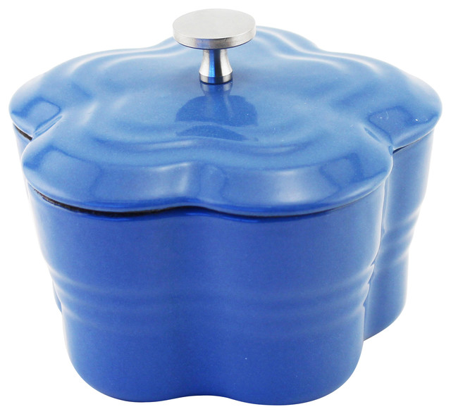 Cast Iron Blossom Mini-Casserole, Blue.