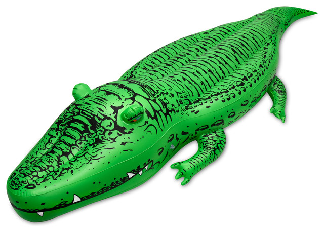 Gofloats bigal 39 giant inflatable alligator premium for Pool floats design raises questions