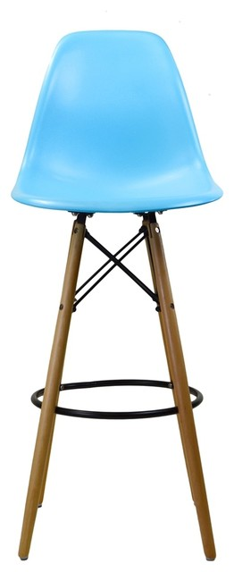 Dowel Leg Bar Stool, Blue With Tall Wooden Base, Blue