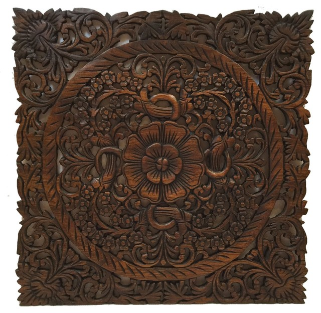 Large Square Oriental Carved Lotus Wood Plaque Rustic Wall Decor Dark Brown