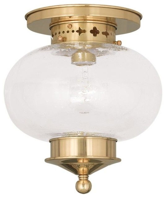 Livex Lighting 1-Light Polished Brass Ceiling Mount.