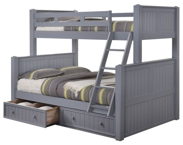 Moreno Grey Twin Over Full Bunk Bed With Underbed Storage Drawers