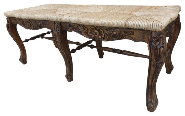 Bench French Country Farmhouse Rush Seat Rattan