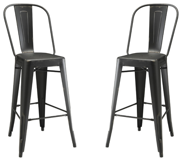 Leather counter stool set of 2 ivory contemporary bar stools - Co Fine Furniture Dining Chairs Fun Color Galvanized Metal