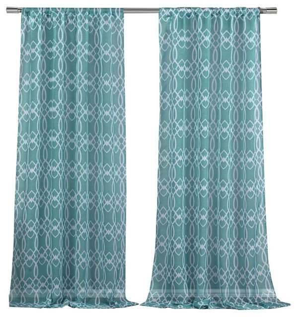 Newbella Sheer Pole Top Pair Panel, Set Of 2, Teal.