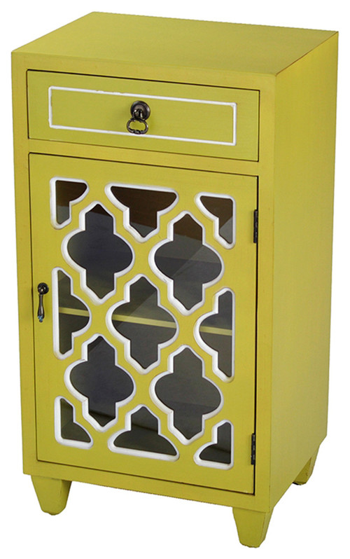 1-Drawer, 1-Door Accent Cabinet, Arabesque Glass Inserts, MDF, Wood Clear Glass