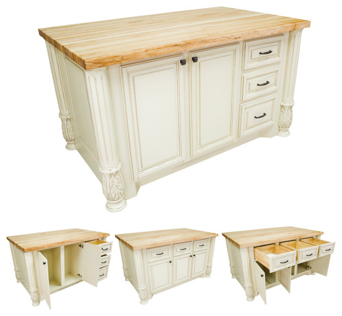 Is this kitchen Island double sided, meaning drawers on both sides